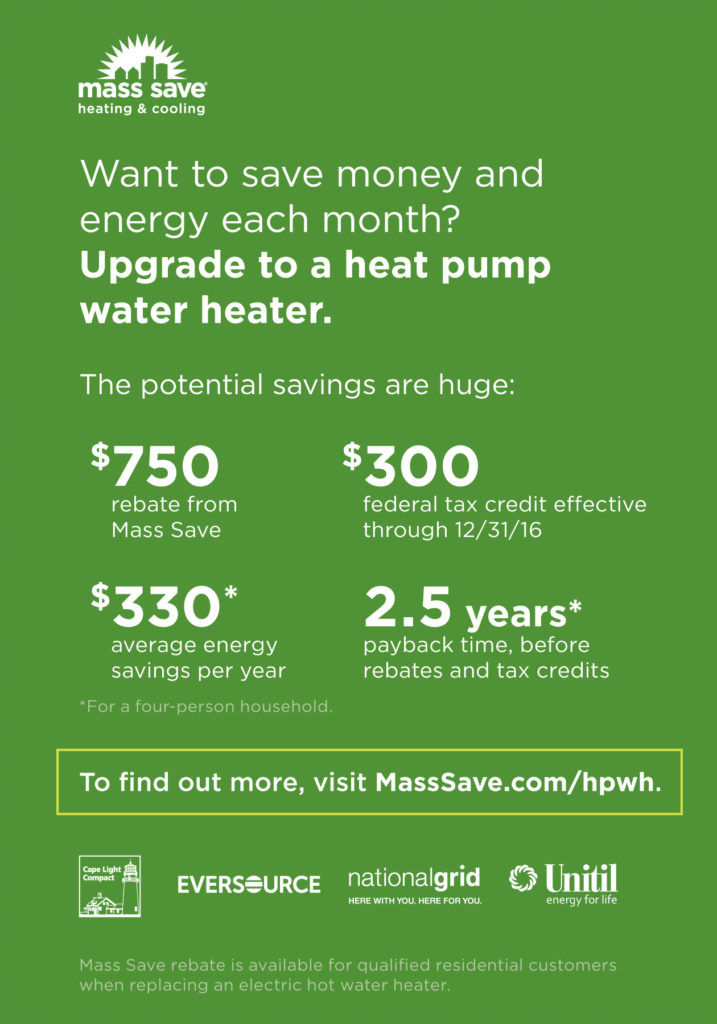 Mass Save Rebates on heat pump water heaters | 128 Plumbing